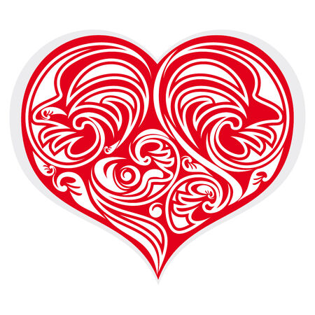 eros: red heart stylized with floreal design