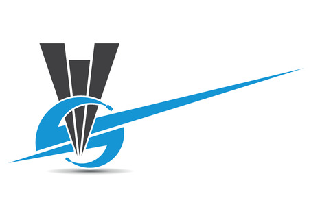 s shape: triangular call center with blue sky headphones Illustration