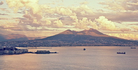napoli: A Naples vintage view of the Gulf  Stock Photo