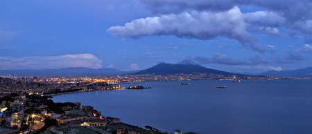 napoli: Naples view of the Gulf with Night Light Stock Photo