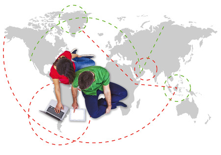 town planning: selection travel with man and woman traveller Stock Photo