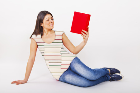 woman book with tshirt to books on a white background photo
