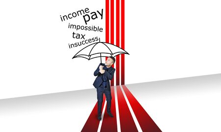 budget repair: rain problem with red lines and black umbrella Stock Photo