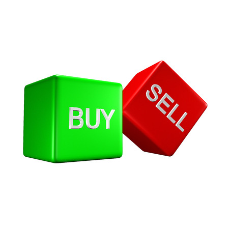 two buy sell dicesisolated on a white background photo