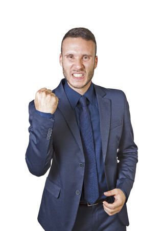 jubilate: a young businessman shouts for success isolated on a white background Stock Photo