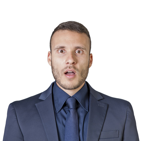 facial expressions of a young businessman isolated on a white background