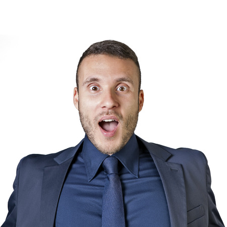 facial expressions of a young businessman isolated on a white background Stock Photo - 27768918