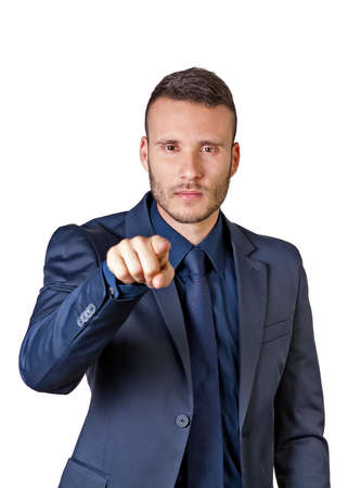 a young buisnessman pointing finger at you isolated on a white background photo