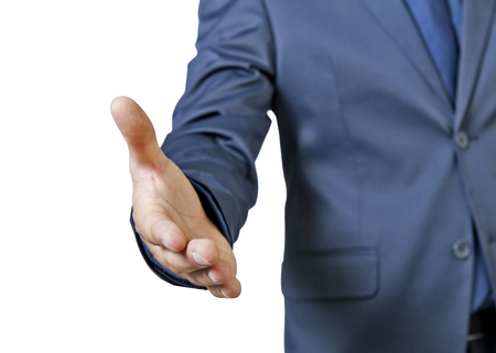 a young businessman handshake isolated on a white background photo