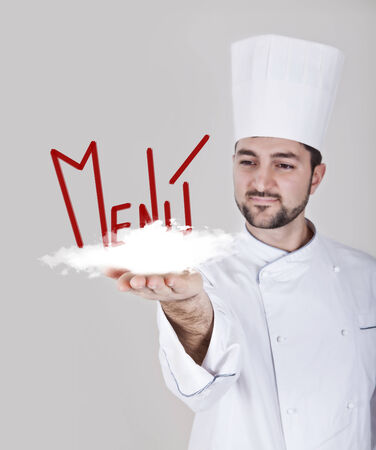 toque blanche: chef man with cloud menu on a white background