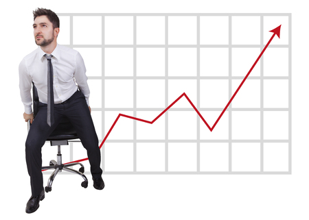 come up to: businessman in start up on trend with red arrow Stock Photo