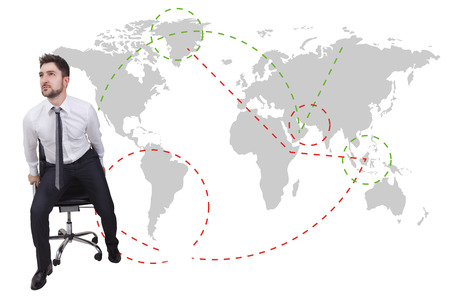 come up to: businessman traveler with chair on a map background
