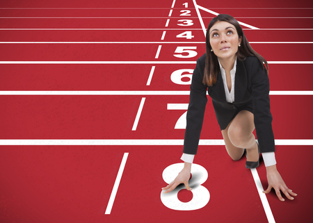 runs: start up woman on track for challenge of the company Stock Photo