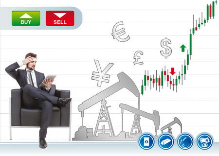 businessman in danger on sofa with trader background photo