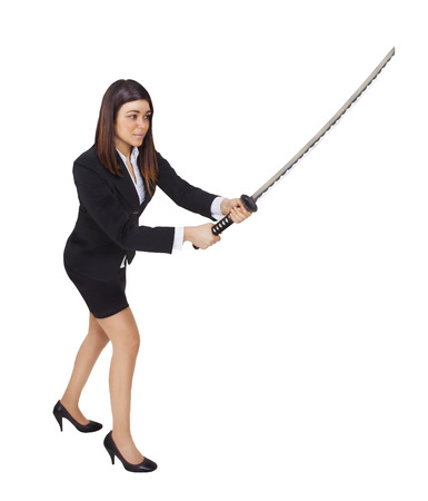 business woman ninja with sword on a white background Stock Photo