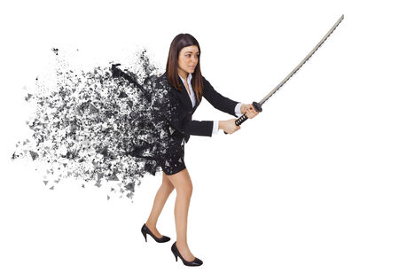 slash: isolated warrior woman in black color explosion  Stock Photo