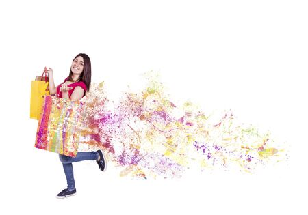 explosive sales with colorful shoppers for mark down  Stock Photo