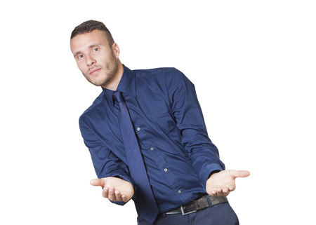 a young businessman holding isolated on a white background photo
