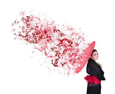 ideograph: explosive geisha with red umbrella and bow on a white background