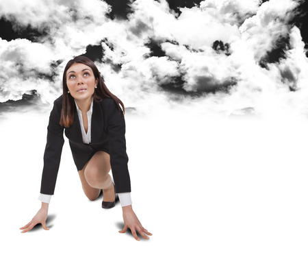 dubious: start up woman below black clouds with white shirt Stock Photo