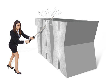 cutting costs: business woman who cuts taxes with a sword Stock Photo