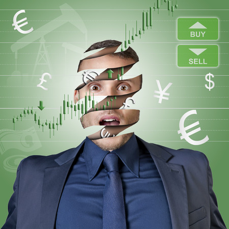 trader businessman with only money in the head illustration for trading
