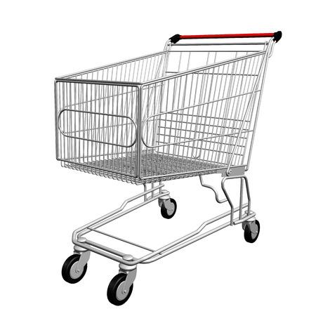 carretilla de mano: Carro de compras 3d aislado en un fondo blanco