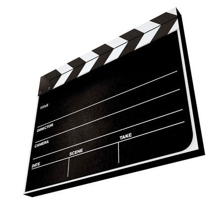 s video: 3d movie clapper board isolated on a white background