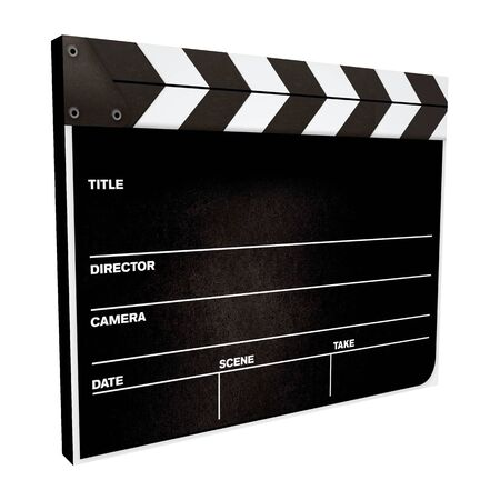 board of director: 3d movie clapper board isolated on a white background