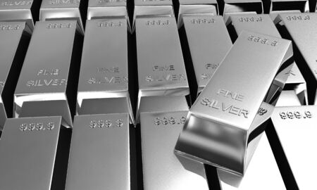 silver ingots: stack of a lot of shiny silver ingots