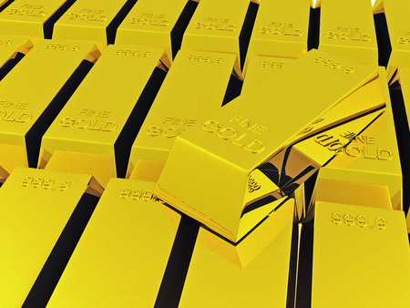 goldbars: stack of a lot of shiny gold ingots