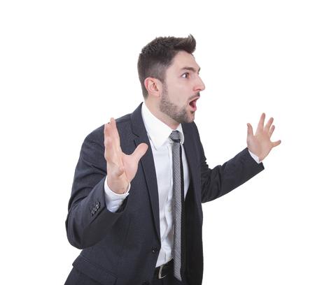 achievment: middle-aged surprised elegant businessman with blue suit