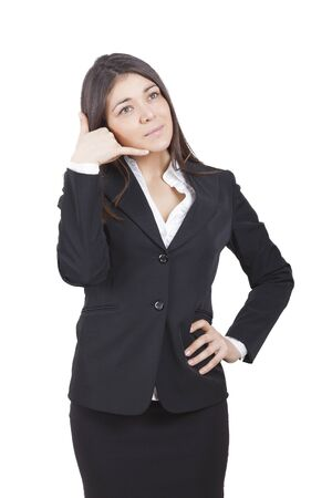 tailleur: middle-aged caucasian businesswoman with dark tailleur calling Stock Photo