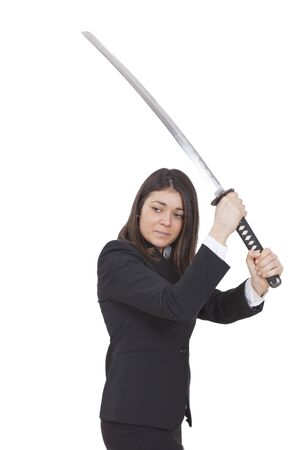 tailleur: Warrior woman with black tailleur and a katana in her hands Stock Photo
