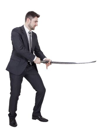 rankings: Warrior businessman with black suit and a katana in his hands