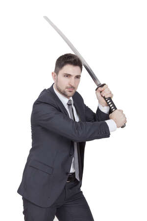 businessman suit: Warrior businessman with black suit and a katana in his hands