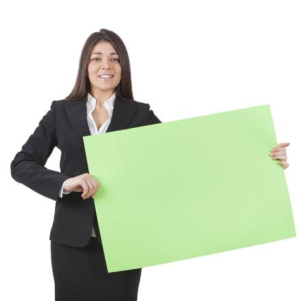 writable: A businesswoman is keeping big green signboard