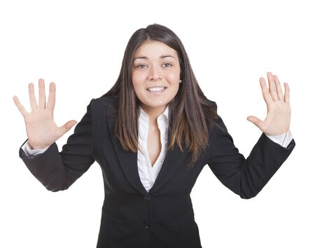 gesturing: Young caucasian business woman gesturing with hands