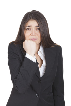 tailleur: Young caucasian worried businesswoman gesturing with hand