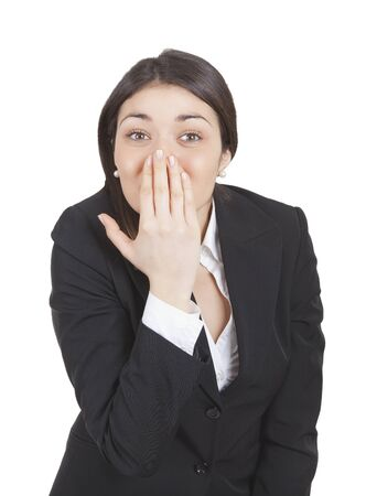 tailleur: Young caucasian business woman gesturing with hands