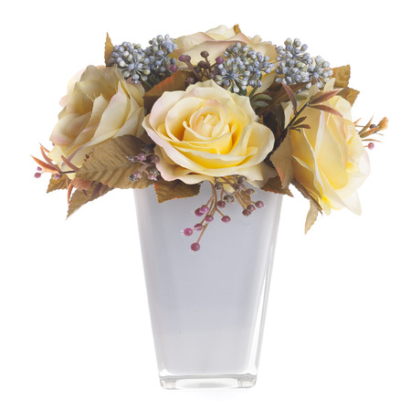 Floral Composition With Yellow Roses In White Vase Stock Photo