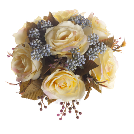 rosaceae: Floral composition with yellow roses in white vase