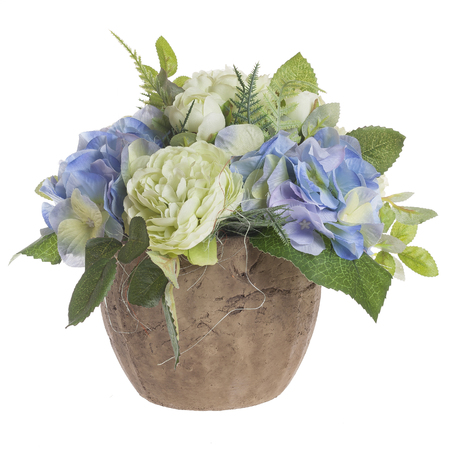 Floral composition with bicolored peonies in earthenware vase