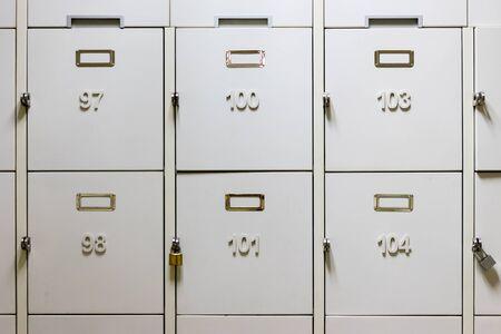 lockers: Lockers in a locker room
