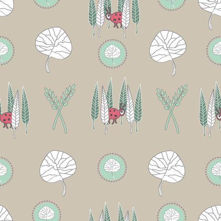 Hiding Beetle -Nature Spirit Seamless Repeat Pattern