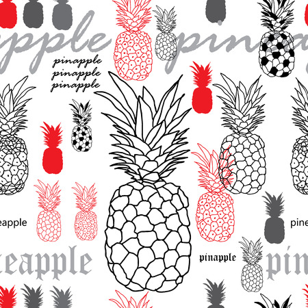 pineapple Breakfast-Fruit Delight. Seamless Repeat Pattern Background in Red Black and White. Delicate Pattern Background. Surface pattern Design, Perfect for Fabric, Scrapbook, wallpaper.