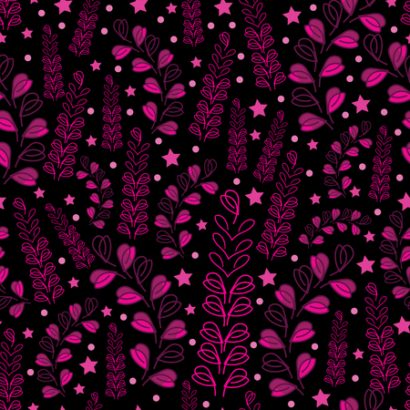 Lavender Nights-Love in Parise. Abstract Modern Lavender Flowers Seamless Repeat Pattern in pink on Black Background .Delicate Pattern Background. Surface pattern Design, Perfect for Fabric, Scrapbook, wallpaper. Illustration