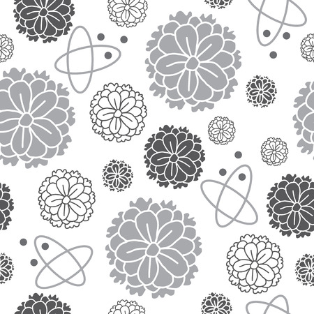 Zinia Flowers-Flowers in Bloom seamless repeat pattern Background in Black and White. Delicate Pattern Background. Surface pattern Design, Perfect for Fabric, Scrapbook, wallpaper.