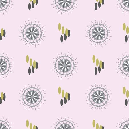 Metal Flowers-Geometric Modern Flowers Seamless repeat pattern background. Abstract flowers and shapes surface pattern design in grey,white and olive green . Perfect for Fabric, Scrapbook, wallpaper