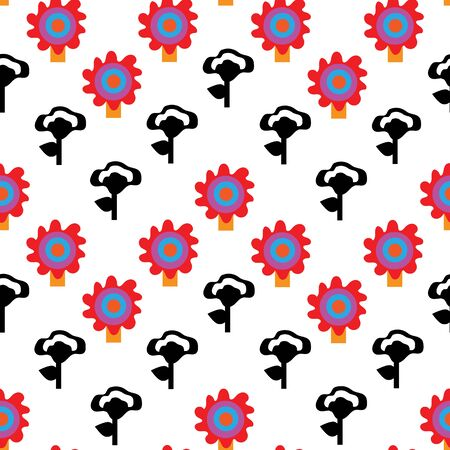 Garden Decor-Geometric Modern Flowers Seamless repeat pattern background. Abstract flower shapes surface pattern design in red,blule,orange,yellow and black . Perfect for Fabric, Scrapbook, wallpaper